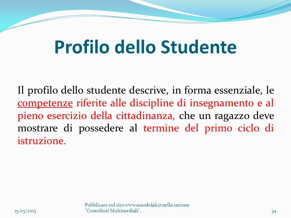 Profilo dello Studente Il profilo dello studente descrive, in forma essenziale, le competenze riferite alle discipline di insegnamento e al pieno eser