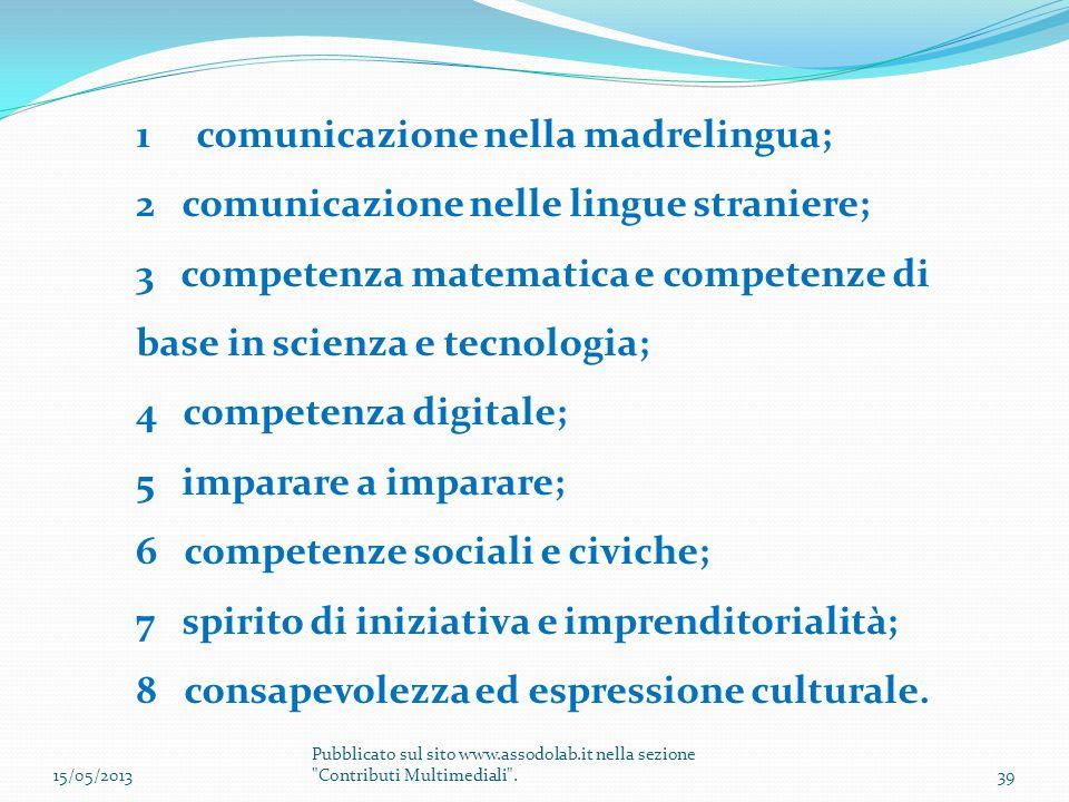 1comunicazione nella madrelingua; 2 comunicazione nelle lingue straniere; 3 competenza matematica e competenze di base in scienza e tecnologia; 4 comp