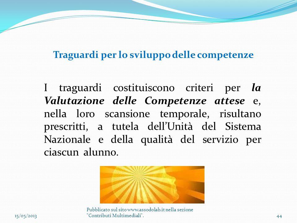 Traguardi per lo sviluppo delle competenze I traguardi costituiscono criteri per la Valutazione delle Competenze attese e, nella loro scansione tempor
