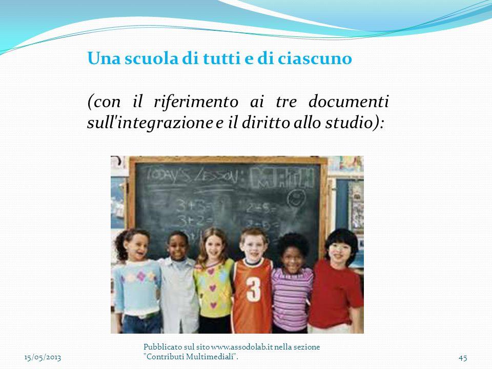 Una scuola di tutti e di ciascuno (con il riferimento ai tre documenti sull'integrazione e il diritto allo studio): 15/05/201345 Pubblicato sul sito w