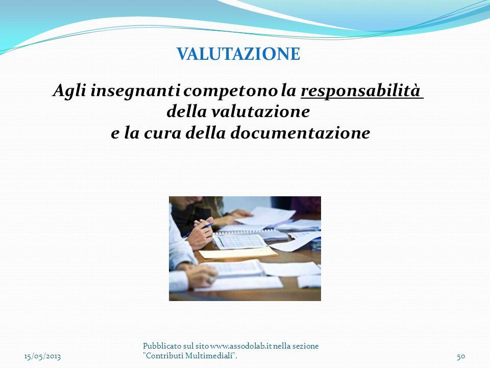 VALUTAZIONE Agli insegnanti competono la responsabilità della valutazione e la cura della documentazione 15/05/201350 Pubblicato sul sito www.assodola