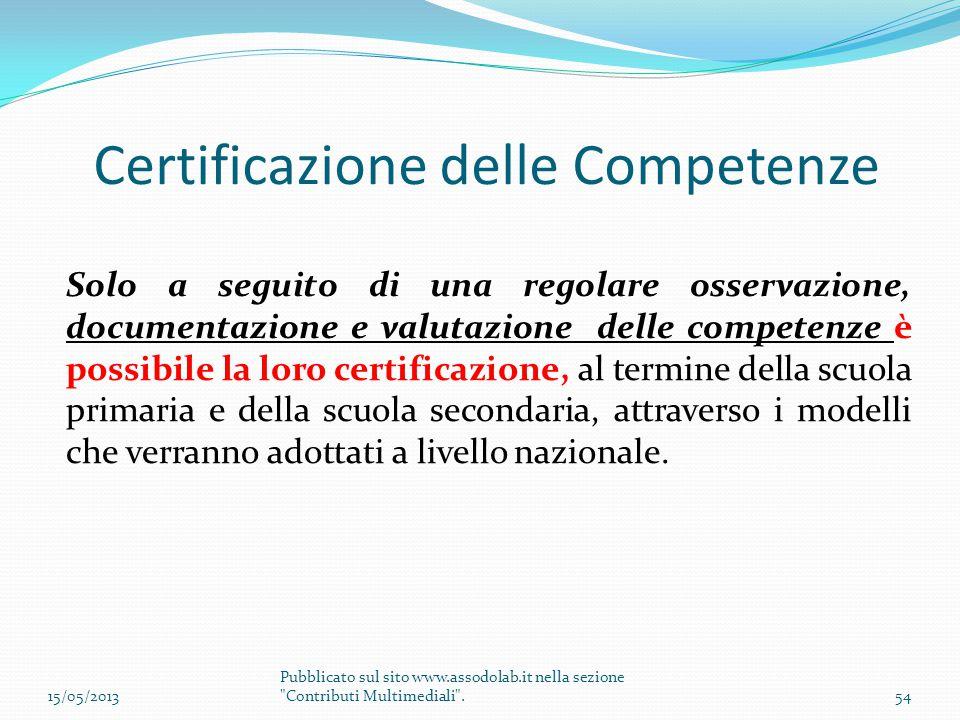 Certificazione delle Competenze Solo a seguito di una regolare osservazione, documentazione e valutazione delle competenze è possibile la loro certifi