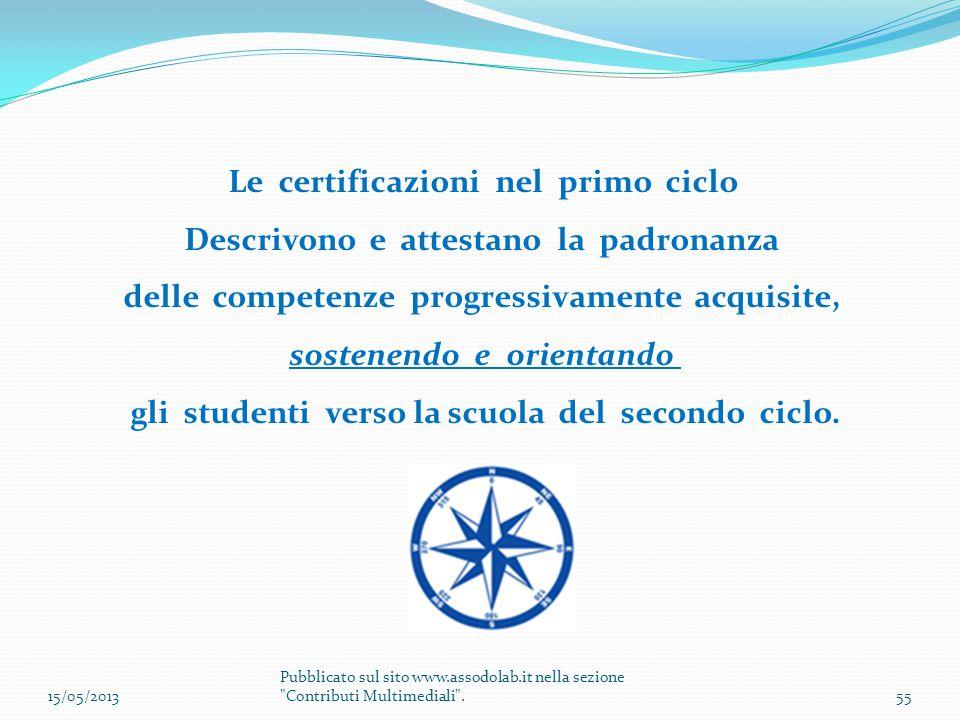 Le certificazioni nel primo ciclo Descrivono e attestano la padronanza delle competenze progressivamente acquisite, sostenendo e orientando gli studen