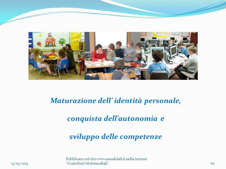 Maturazione dell' identità personale, conquista dell'autonomia e sviluppo delle competenze 15/05/201362 Pubblicato sul sito www.assodolab.it nella sez