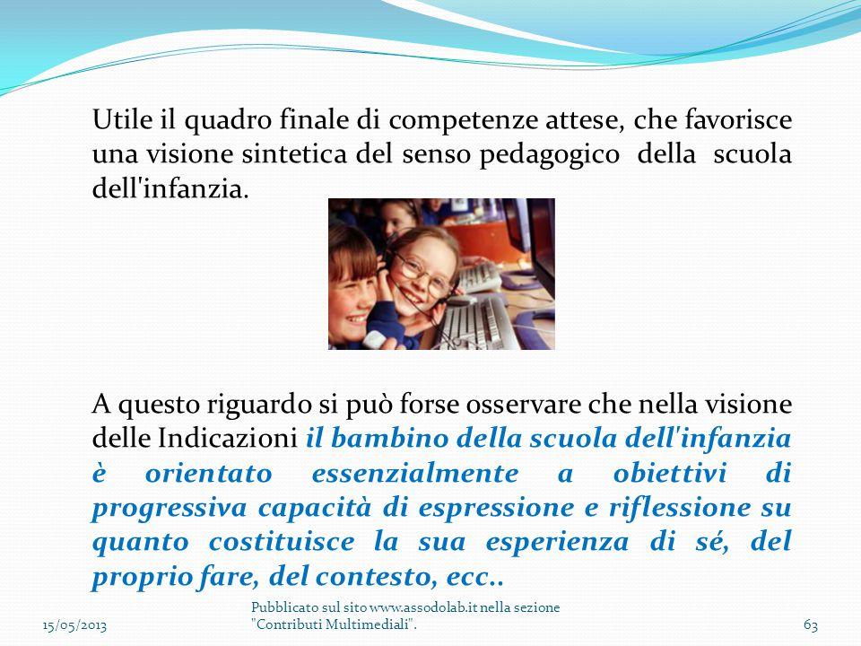 Utile il quadro finale di competenze attese, che favorisce una visione sintetica del senso pedagogico della scuola dell'infanzia. A questo riguardo si