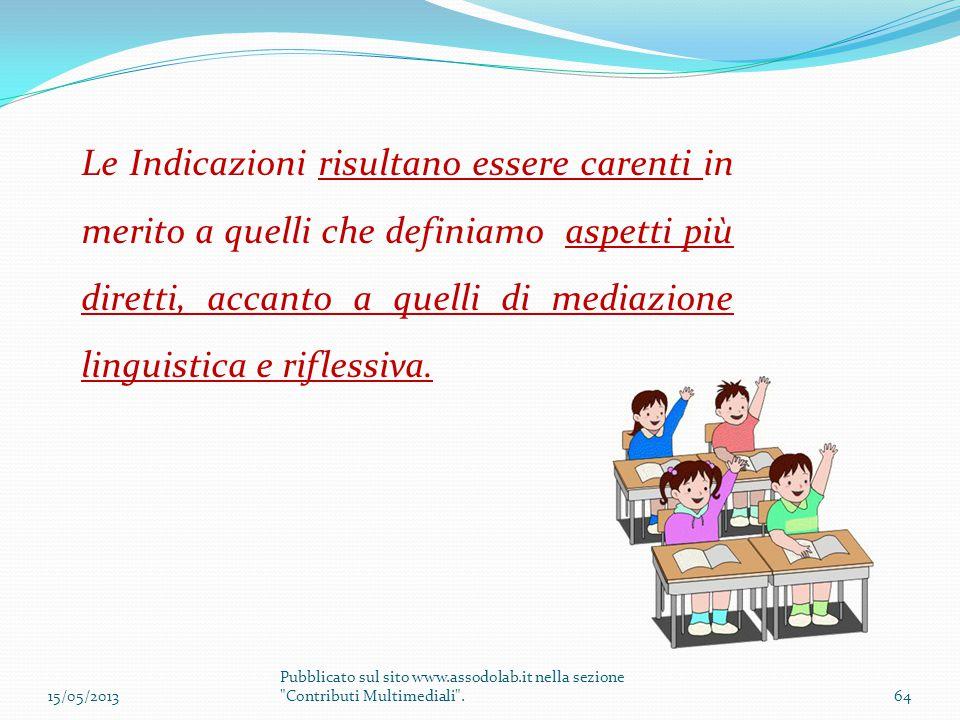 Le Indicazioni risultano essere carenti in merito a quelli che definiamo aspetti più diretti, accanto a quelli di mediazione linguistica e riflessiva.