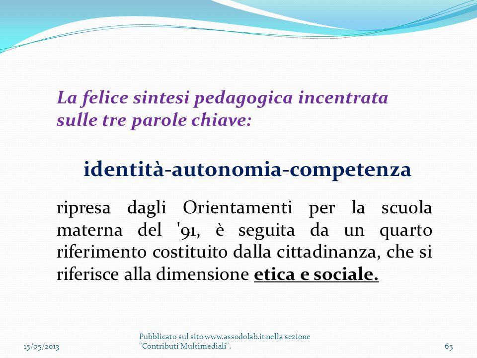 La felice sintesi pedagogica incentrata sulle tre parole chiave: identità-autonomia-competenza ripresa dagli Orientamenti per la scuola materna del '9
