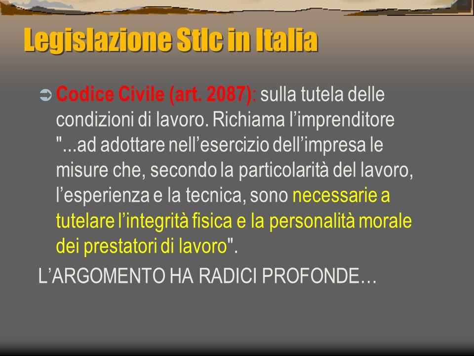 Legislazione Stlc in Italia  Codice Civile (art.2087) : sulla tutela delle condizioni di lavoro.