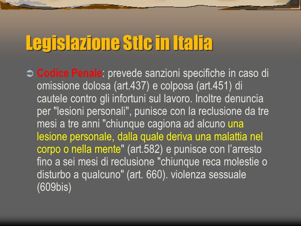 Legislazione Stlc in Italia  Codice Penale : prevede sanzioni specifiche in caso di omissione dolosa (art.437) e colposa (art.451) di cautele contro gli infortuni sul lavoro.