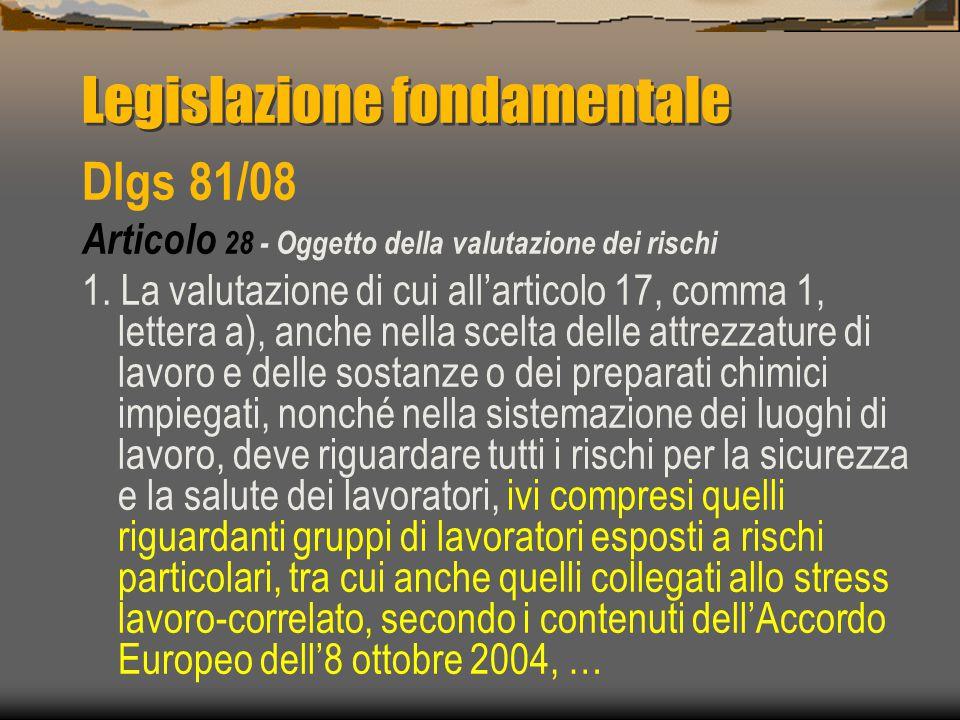 Legislazione fondamentale Dlgs 81/08 Articolo 28 - Oggetto della valutazione dei rischi 1.