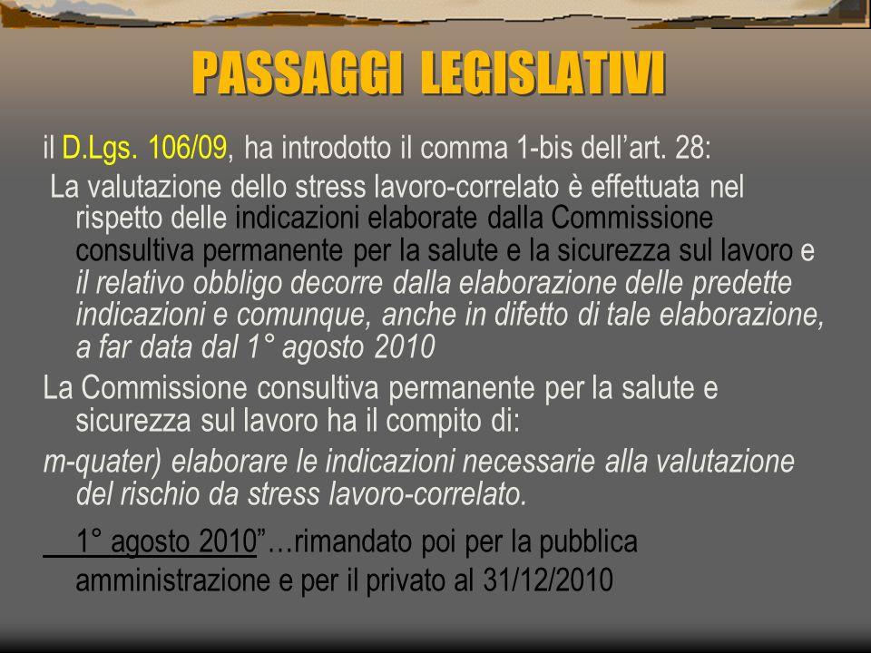 PASSAGGI LEGISLATIVI il D.Lgs.106/09, ha introdotto il comma 1-bis dell'art.