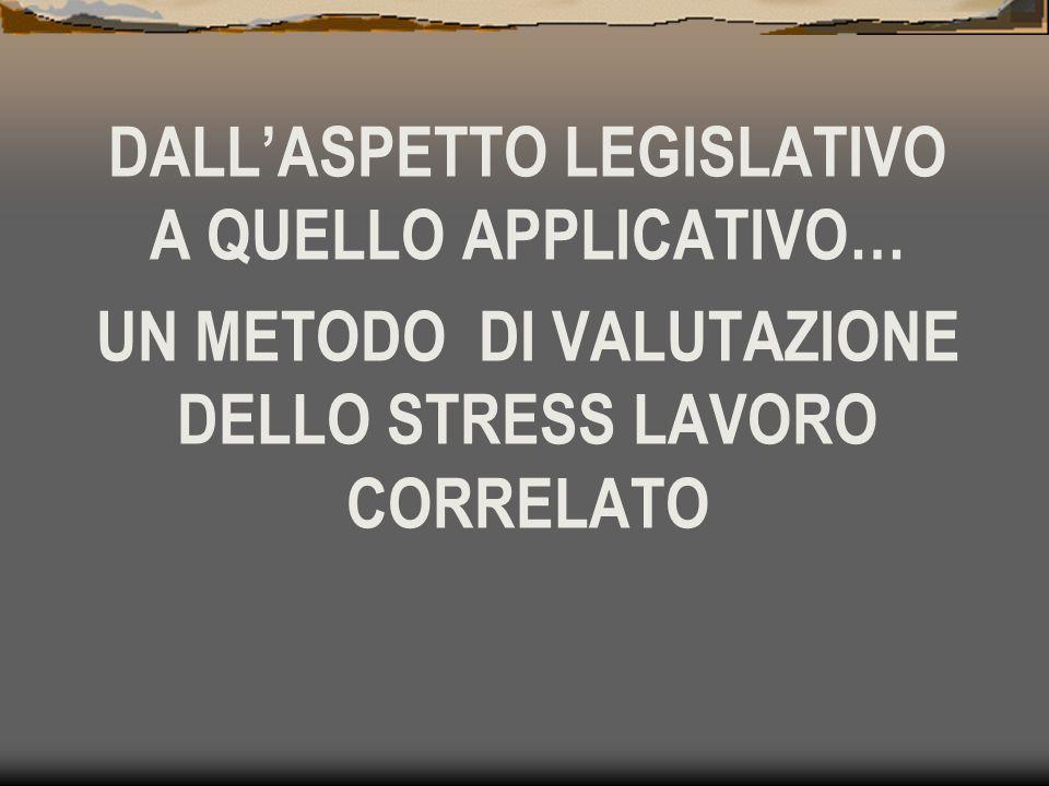 DALL'ASPETTO LEGISLATIVO A QUELLO APPLICATIVO… UN METODO DI VALUTAZIONE DELLO STRESS LAVORO CORRELATO