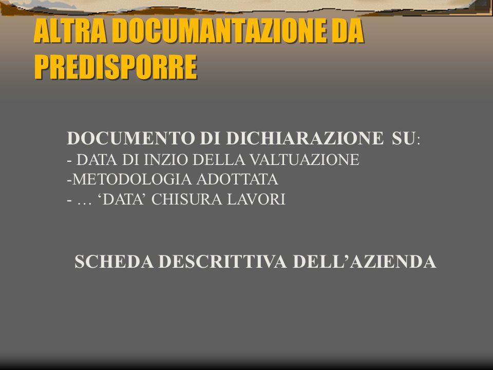 ALTRA DOCUMANTAZIONE DA PREDISPORRE DOCUMENTO DI DICHIARAZIONE SU : - DATA DI INZIO DELLA VALTUAZIONE -METODOLOGIA ADOTTATA - … 'DATA' CHISURA LAVORI SCHEDA DESCRITTIVA DELL'AZIENDA