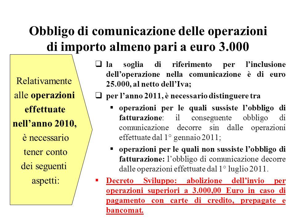 Obbligo di comunicazione delle operazioni di importo almeno pari a euro 3.000  la soglia di riferimento per l'inclusione dell'operazione nella comuni