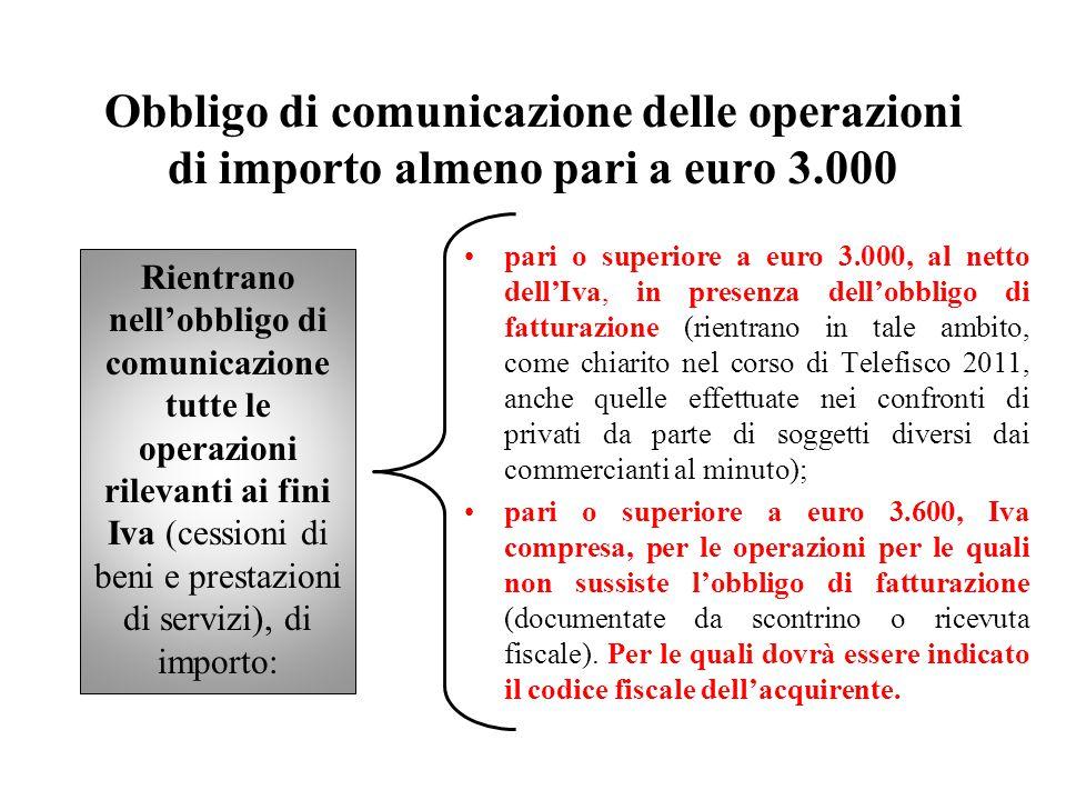 Obbligo di comunicazione delle operazioni di importo almeno pari a euro 3.000 Rientrano nell'obbligo di comunicazione tutte le operazioni rilevanti ai