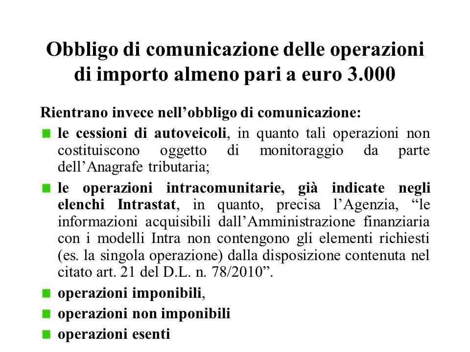 Obbligo di comunicazione delle operazioni di importo almeno pari a euro 3.000 Rientrano invece nell'obbligo di comunicazione: le cessioni di autoveico