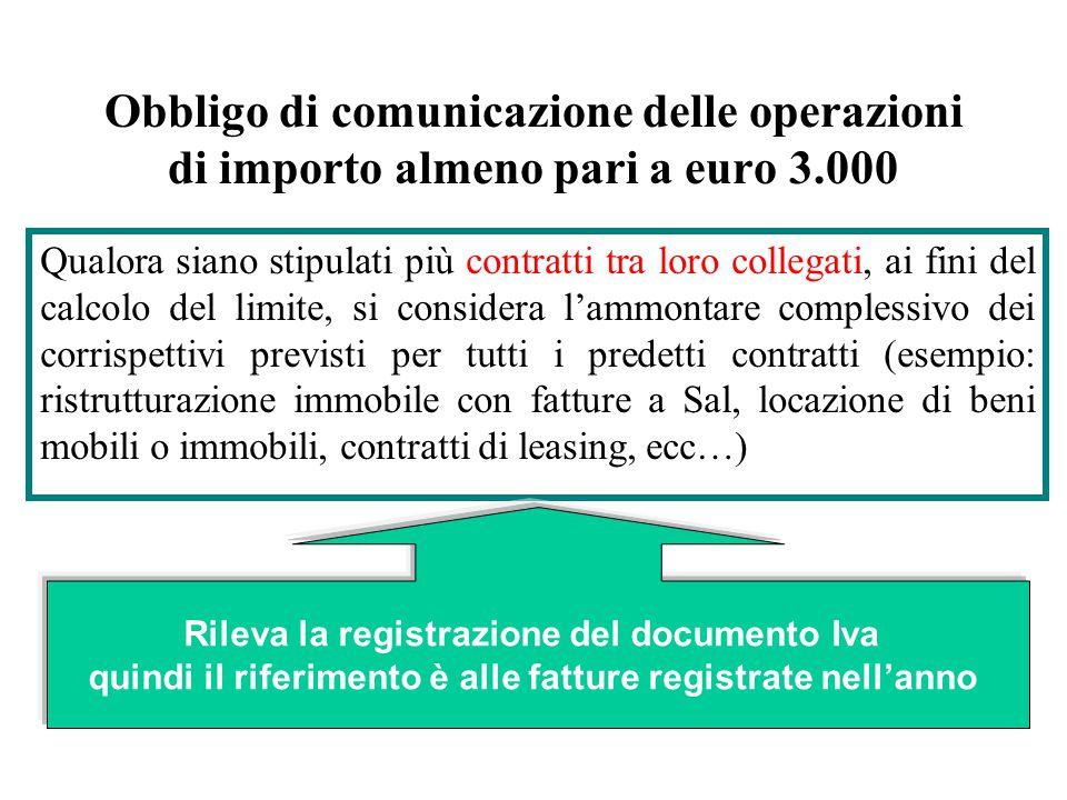 Obbligo di comunicazione delle operazioni di importo almeno pari a euro 3.000 Qualora siano stipulati più contratti tra loro collegati, ai fini del ca