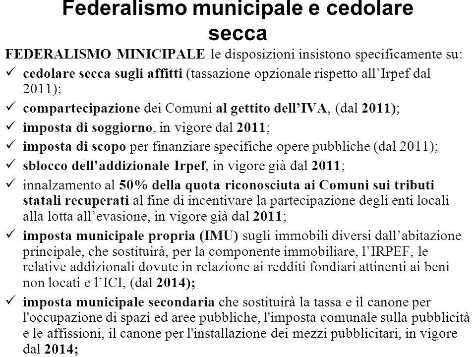 Federalismo municipale e cedolare secca FEDERALISMO MINICIPALE le disposizioni insistono specificamente su: cedolare secca sugli affitti (tassazione o