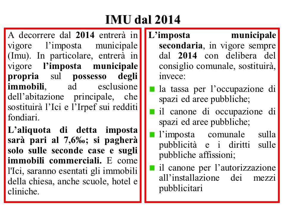 IMU dal 2014 A decorrere dal 2014 entrerà in vigore l'imposta municipale (Imu). In particolare, entrerà in vigore l'imposta municipale propria sul pos