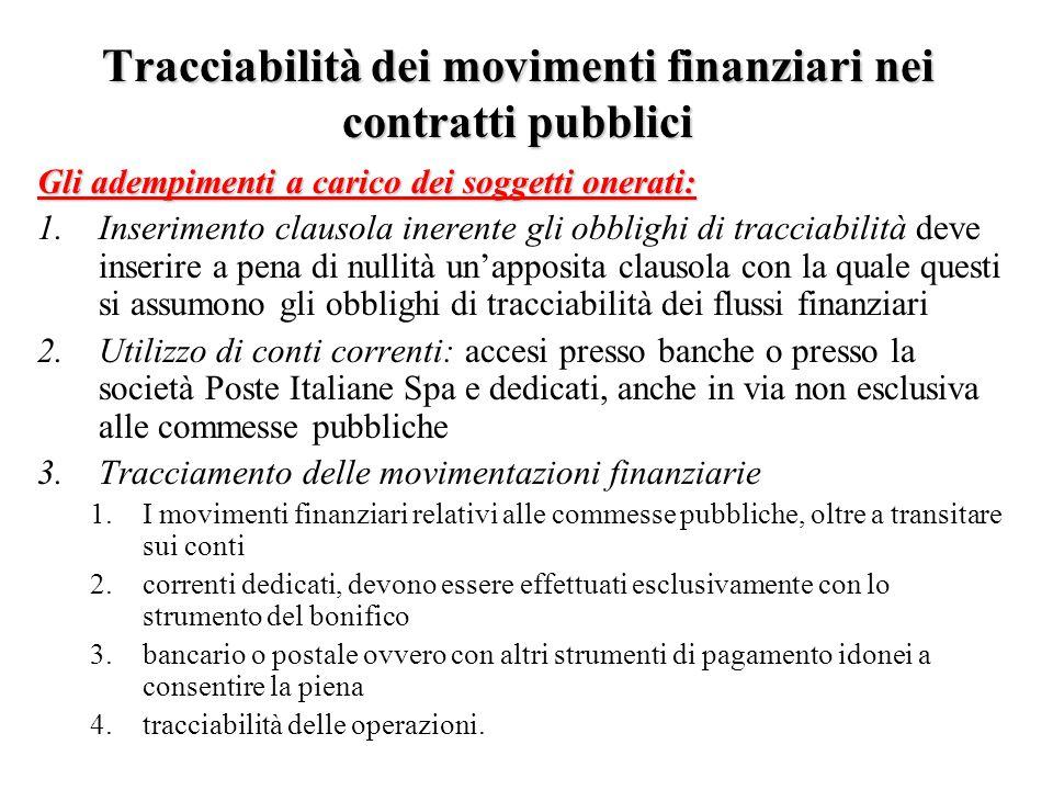Tracciabilità dei movimenti finanziari nei contratti pubblici Gli adempimenti a carico dei soggetti onerati: 1.Inserimento clausola inerente gli obbli