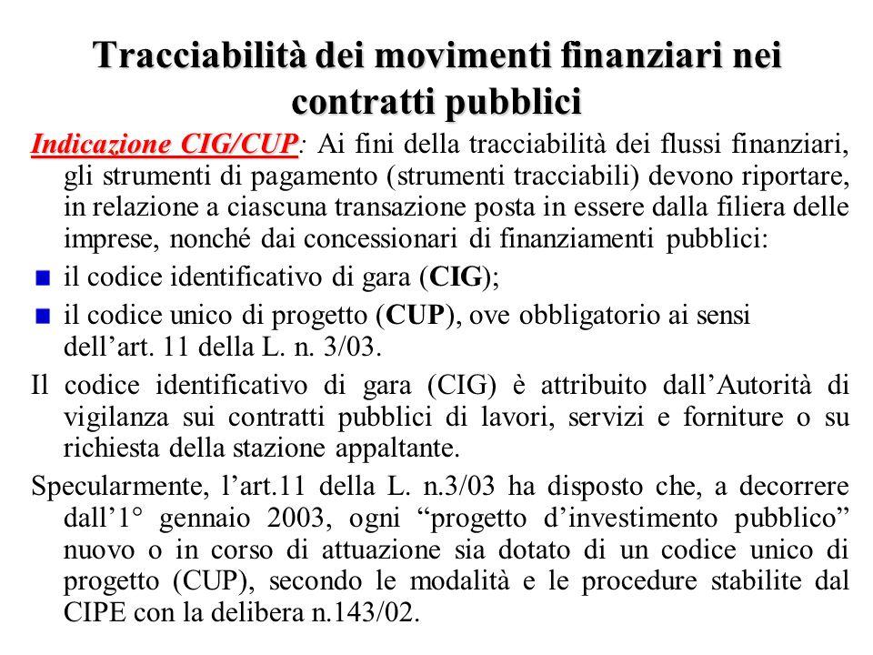 Tracciabilità dei movimenti finanziari nei contratti pubblici Indicazione CIG/CUP Indicazione CIG/CUP: Ai fini della tracciabilità dei flussi finanzia