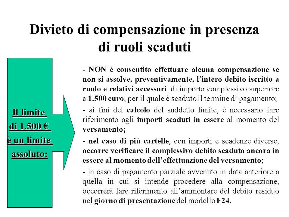 Divieto di compensazione in presenza di ruoli scaduti - NON è consentito effettuare alcuna compensazione se non si assolve, preventivamente, l'intero