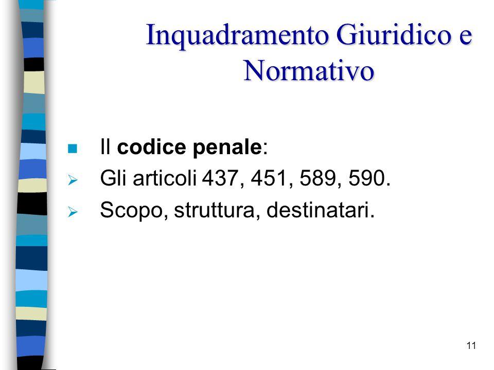 11 n Il codice penale:  Gli articoli 437, 451, 589, 590.