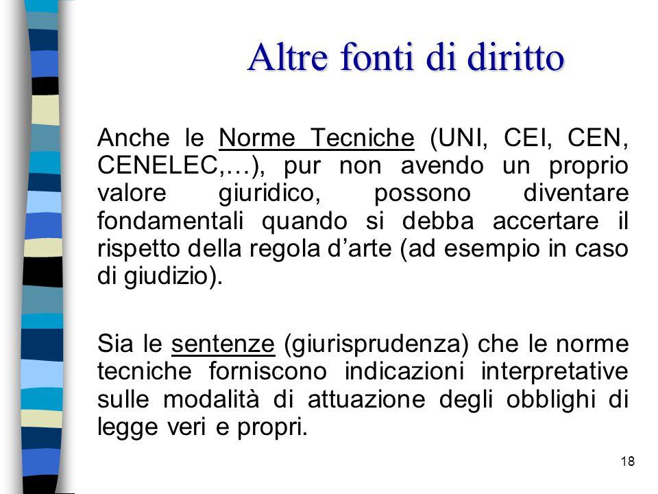 19 n La figura del Preposto nella normativa:  Il Preposto nelle leggi speciali.