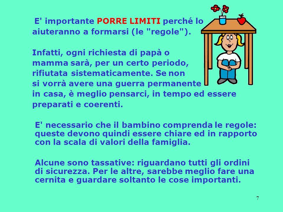 7 E importante PORRE LIMITI perché lo aiuteranno a formarsi (le regole ).