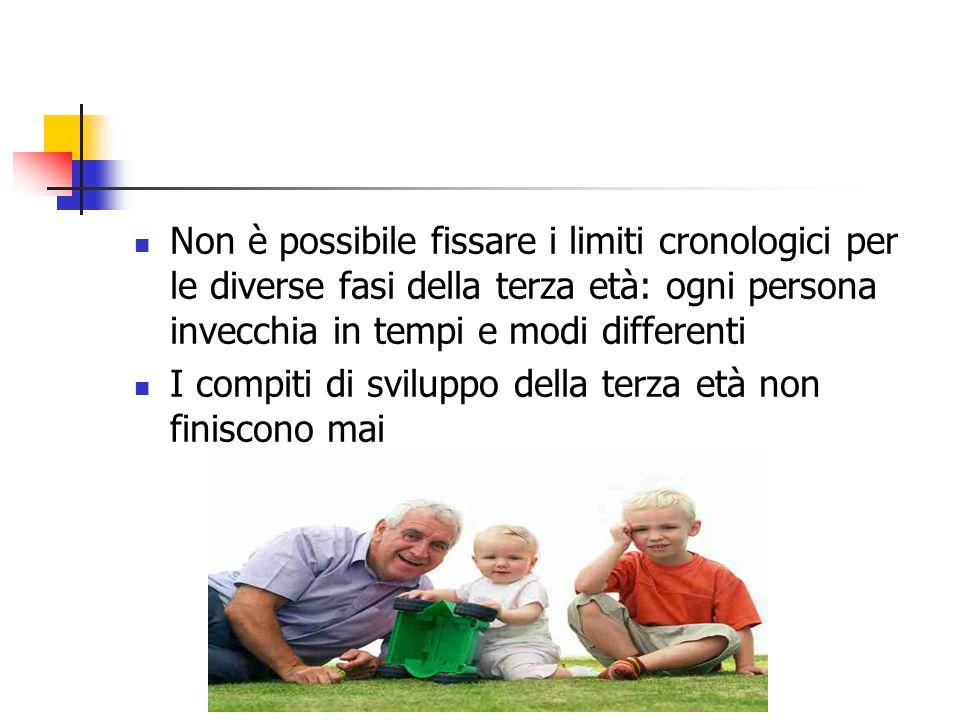 Non è possibile fissare i limiti cronologici per le diverse fasi della terza età: ogni persona invecchia in tempi e modi differenti I compiti di svilu