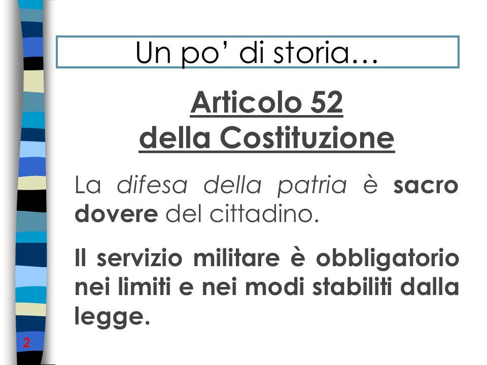 Articolo 52 della Costituzione La difesa della patria è sacro dovere del cittadino.