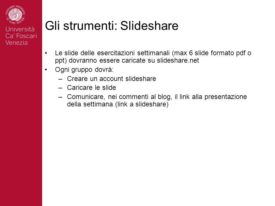 Gli strumenti: Slideshare Le slide delle esercitazioni settimanali (max 6 slide formato pdf o ppt) dovranno essere caricate su slideshare.net Ogni gruppo dovrà: –Creare un account slideshare –Caricare le slide –Comunicare, nei commenti al blog, il link alla presentazione della settimana (link a slideshare)