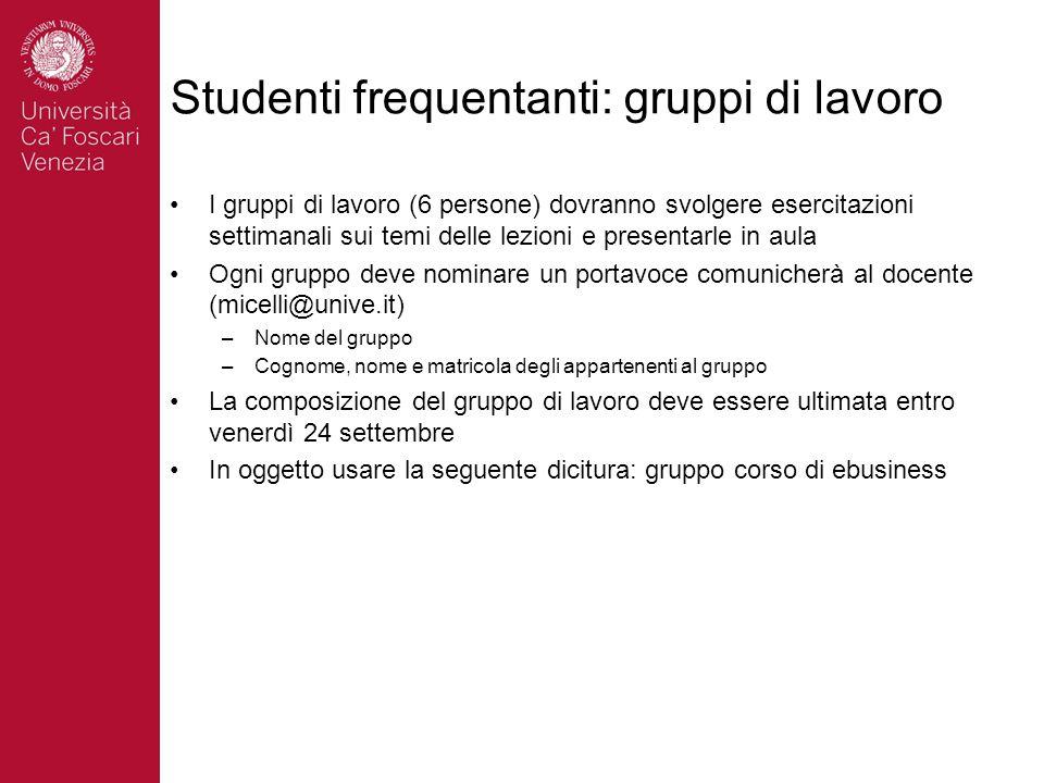Studenti frequentanti: gruppi di lavoro I gruppi di lavoro (6 persone) dovranno svolgere esercitazioni settimanali sui temi delle lezioni e presentarl