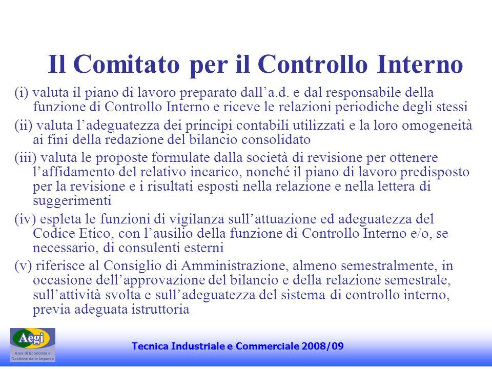 Il Comitato per il Controllo Interno (i) valuta il piano di lavoro preparato dall'a.d. e dal responsabile della funzione di Controllo Interno e riceve