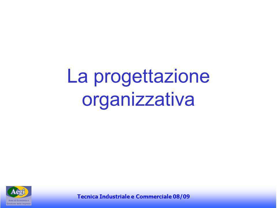 Tecnica Industriale e Commerciale 08/09 La progettazione organizzativa