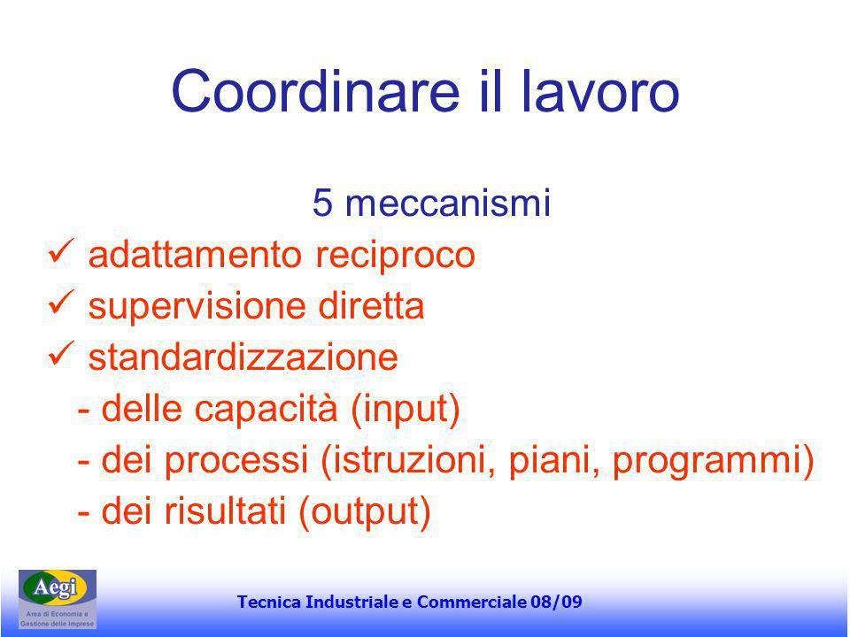 Tecnica Industriale e Commerciale 08/09 Coordinare il lavoro 5 meccanismi adattamento reciproco supervisione diretta standardizzazione - delle capacit