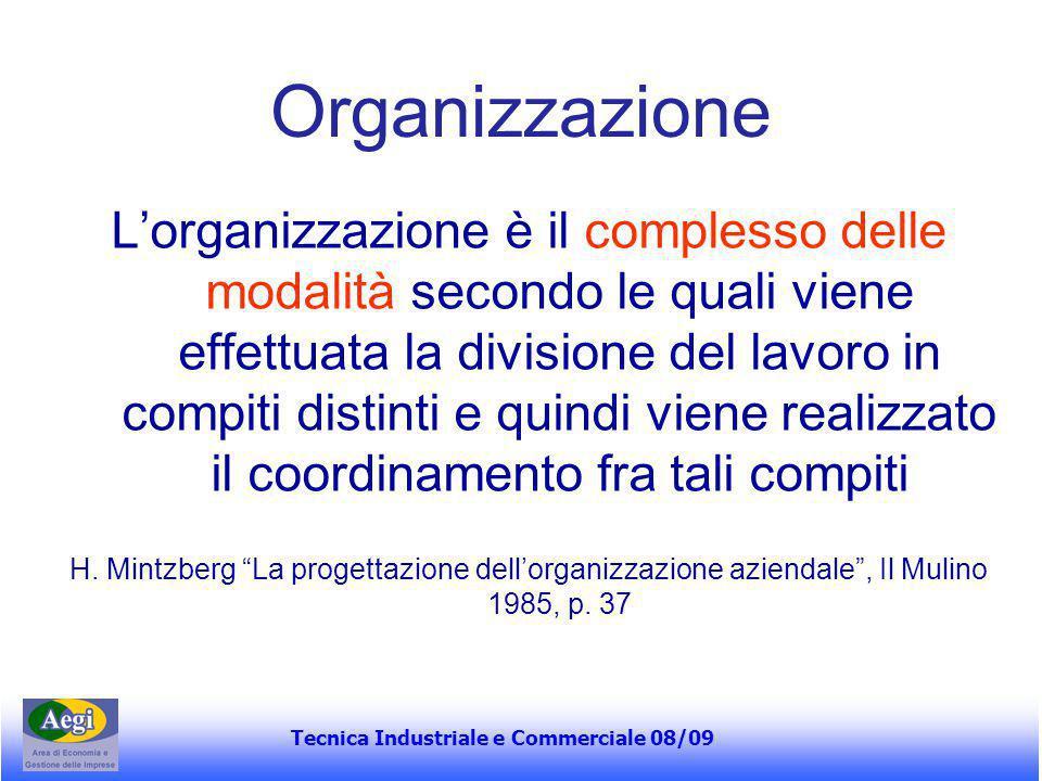 Tecnica Industriale e Commerciale 08/09 Organizzazione L'organizzazione è il complesso delle modalità secondo le quali viene effettuata la divisione d