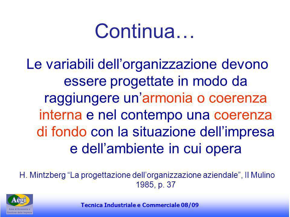 Tecnica Industriale e Commerciale 08/09 Continua… Le variabili dell'organizzazione devono essere progettate in modo da raggiungere un'armonia o coeren