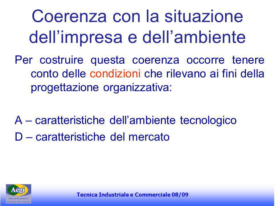 Tecnica Industriale e Commerciale 08/09 Coerenza con la situazione dell'impresa e dell'ambiente Per costruire questa coerenza occorre tenere conto del