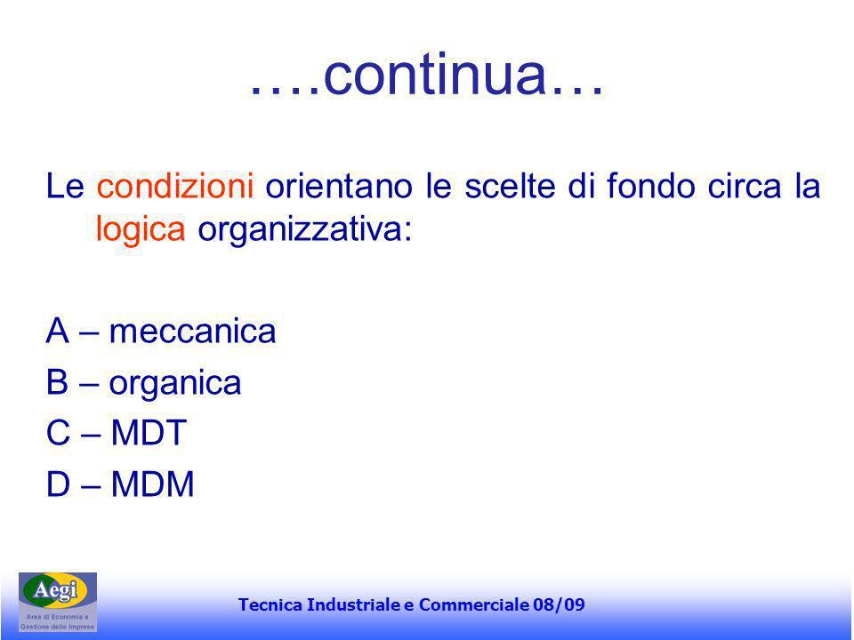 Tecnica Industriale e Commerciale 08/09 ….continua… Le condizioni orientano le scelte di fondo circa la logica organizzativa: A – meccanica B – organi