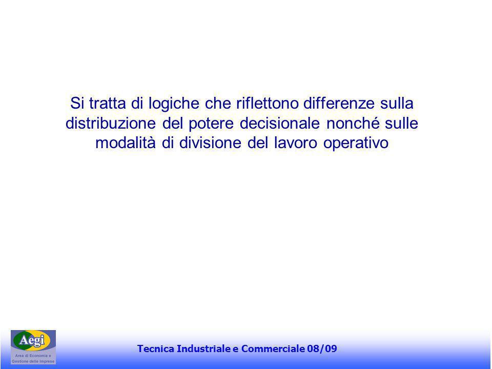 Tecnica Industriale e Commerciale 08/09 Si tratta di logiche che riflettono differenze sulla distribuzione del potere decisionale nonché sulle modalit