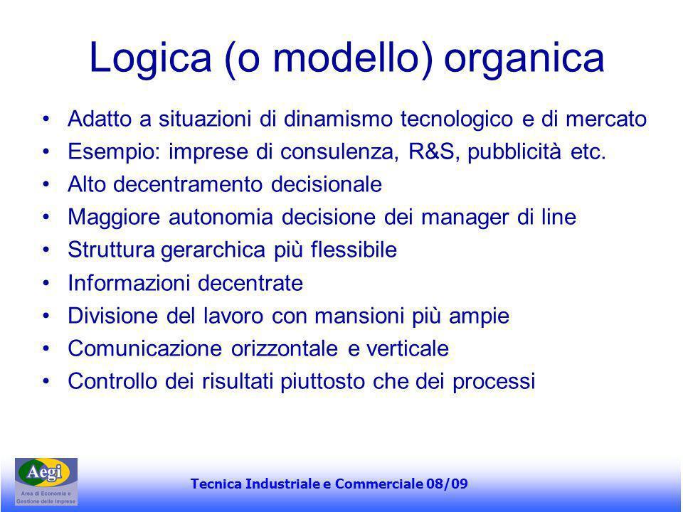 Tecnica Industriale e Commerciale 08/09 Logica (o modello) organica Adatto a situazioni di dinamismo tecnologico e di mercato Esempio: imprese di cons