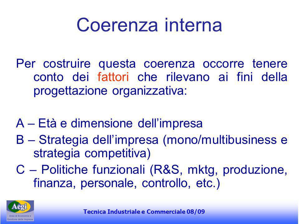 Tecnica Industriale e Commerciale 08/09 Coerenza interna Per costruire questa coerenza occorre tenere conto dei fattori che rilevano ai fini della pro
