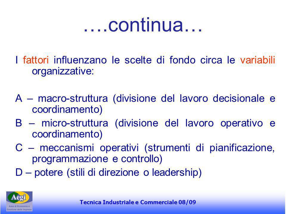 Tecnica Industriale e Commerciale 08/09 ….continua… I fattori influenzano le scelte di fondo circa le variabili organizzative: A – macro-struttura (di