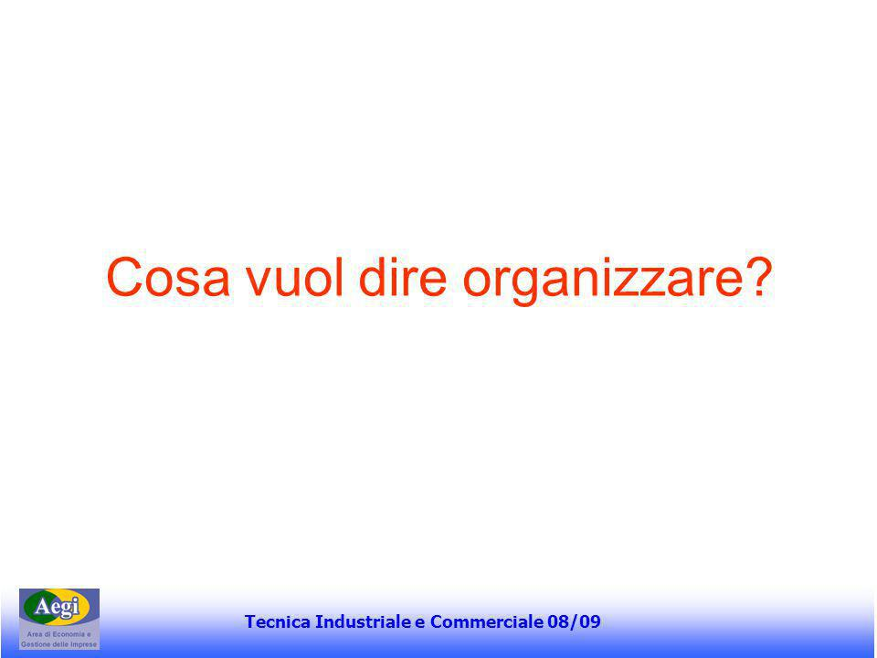Tecnica Industriale e Commerciale 08/09 Dipendenza sequenziale Si ha dipendenza sequenziale quando l'output di un'attività costituisce l'input di un'altra attività A B Meccanismi di coordinamento: standardizzazione dei processi, dei risultati