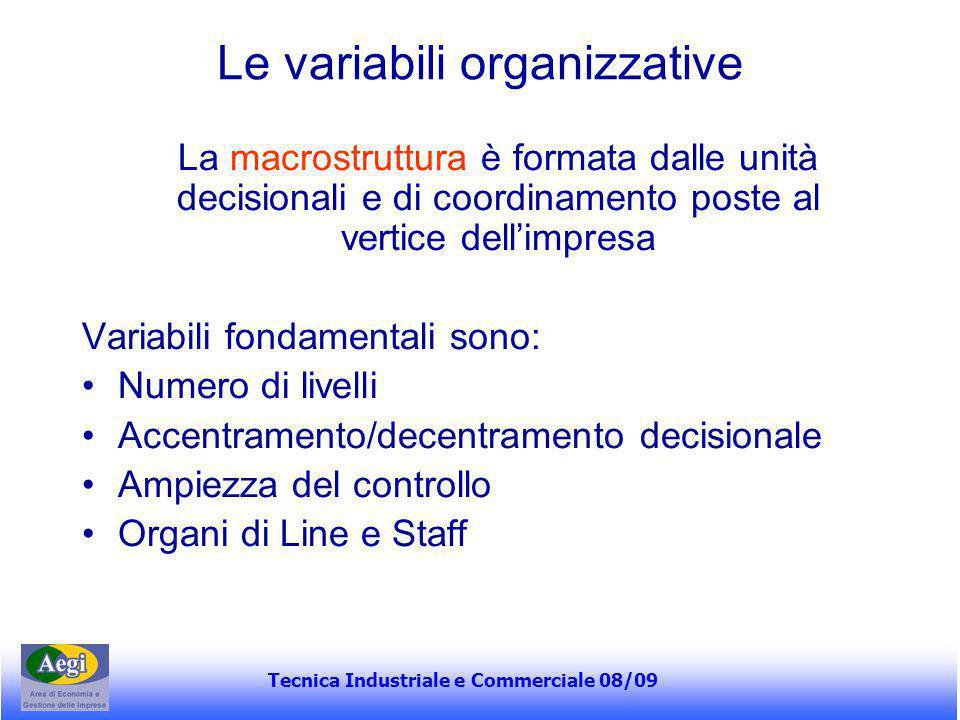 Tecnica Industriale e Commerciale 08/09 Le variabili organizzative La macrostruttura è formata dalle unità decisionali e di coordinamento poste al ver