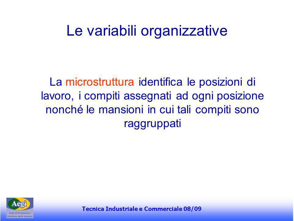Tecnica Industriale e Commerciale 08/09 Le variabili organizzative La microstruttura identifica le posizioni di lavoro, i compiti assegnati ad ogni po