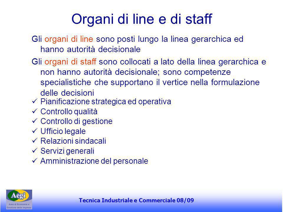Tecnica Industriale e Commerciale 08/09 Organi di line e di staff Gli organi di line sono posti lungo la linea gerarchica ed hanno autorità decisional