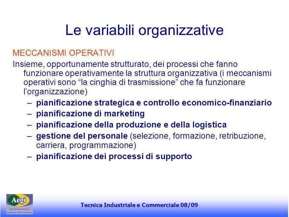 Tecnica Industriale e Commerciale 08/09 Le variabili organizzative MECCANISMI OPERATIVI Insieme, opportunamente strutturato, dei processi che fanno fu