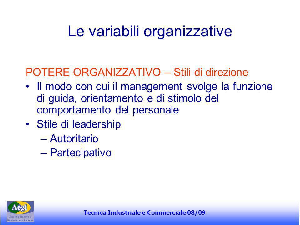 Tecnica Industriale e Commerciale 08/09 Le variabili organizzative POTERE ORGANIZZATIVO – Stili di direzione Il modo con cui il management svolge la f